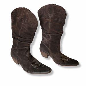Steve Madden Saddle Brown Suede Cowboy boot
